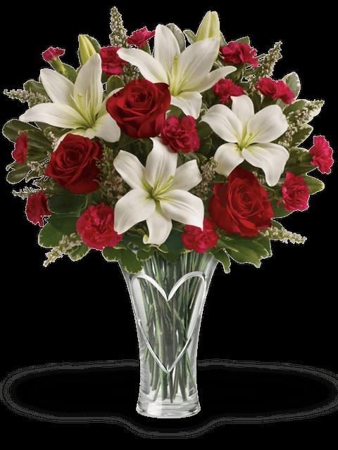 Bouquet di rose Lilium e Garofani