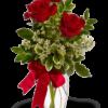 Bouquet di tre Rose Rosse per funerale
