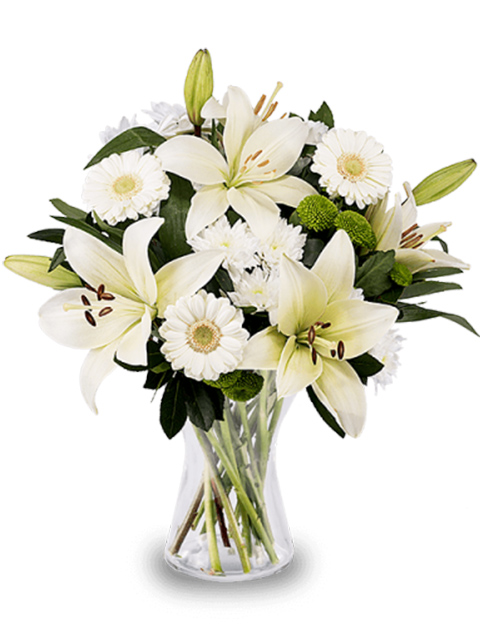 Bouquet di gerbere e gigli bianchi per funerale