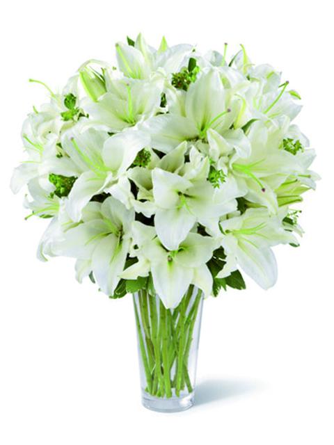 Bouquet di gigli bianchi per funerale