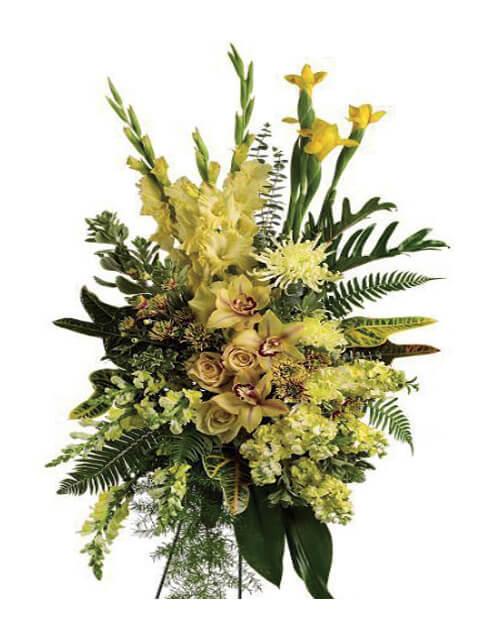 cuscino funebre di orchidee e fiori misti