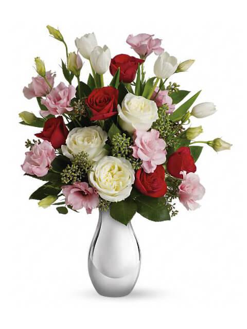 rose bianche rosa e rosse