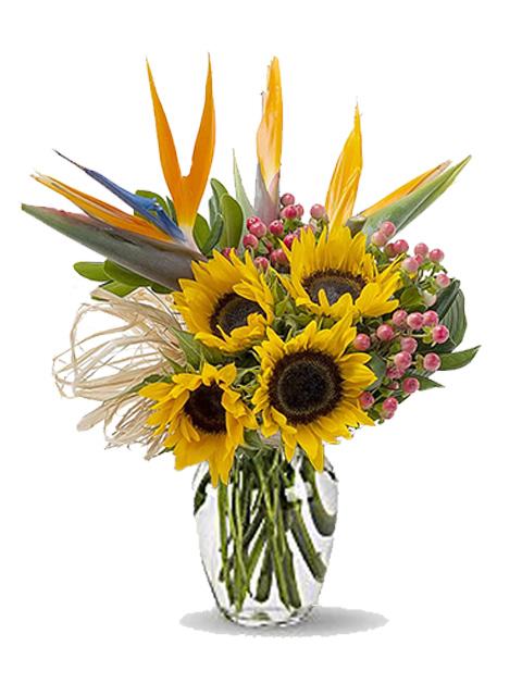 Bouquet di sterlizie e girasoli per funerale